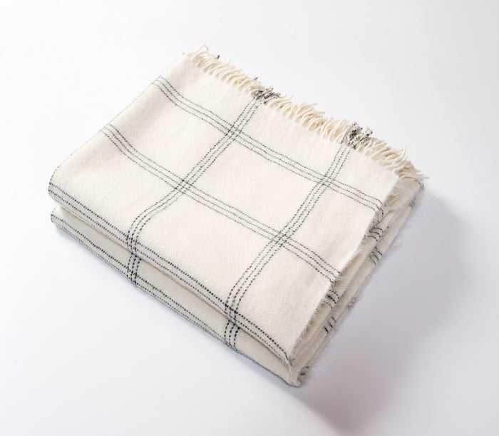 Windowpane Alpaca Throw Cream