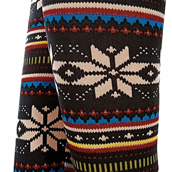 Women's Winter Snowflakes Pattern Warm Knitted Leggings Tights Pants ( F )