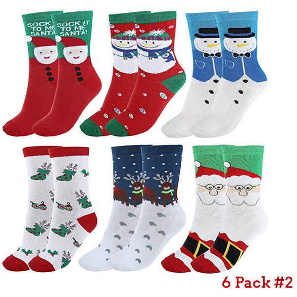 Women's Cute Pattern Colorful Cotton Screw Socks,Christmas Style