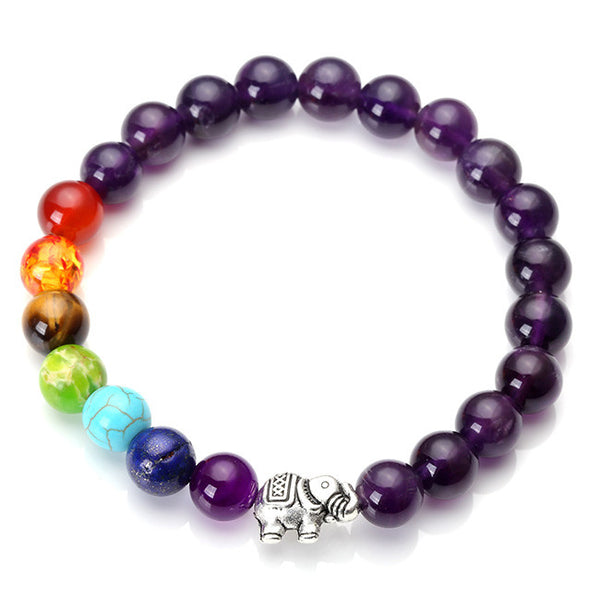 amethyst bracelet with elephant