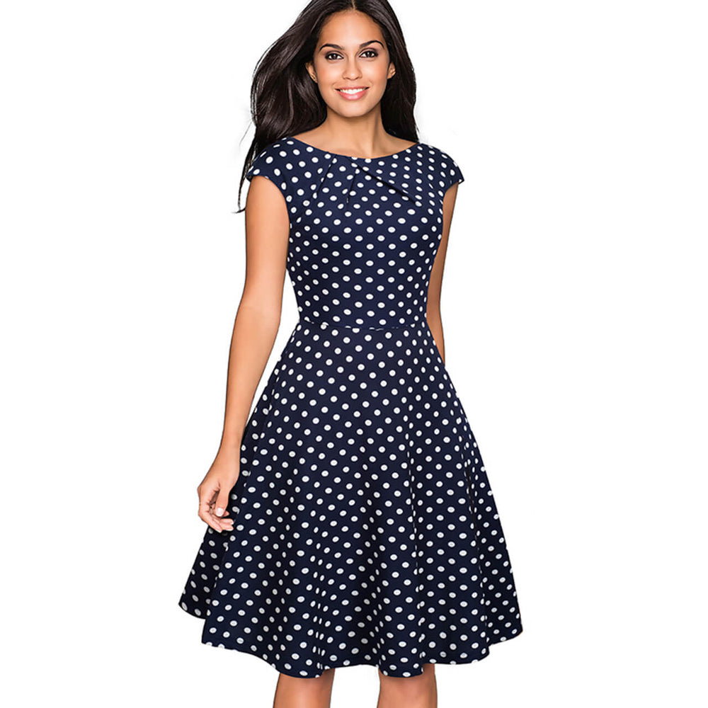 Ayliss Women Elegant Polka Dot A Line Dress Cap Sleeve Scoop Neck Flare Dress