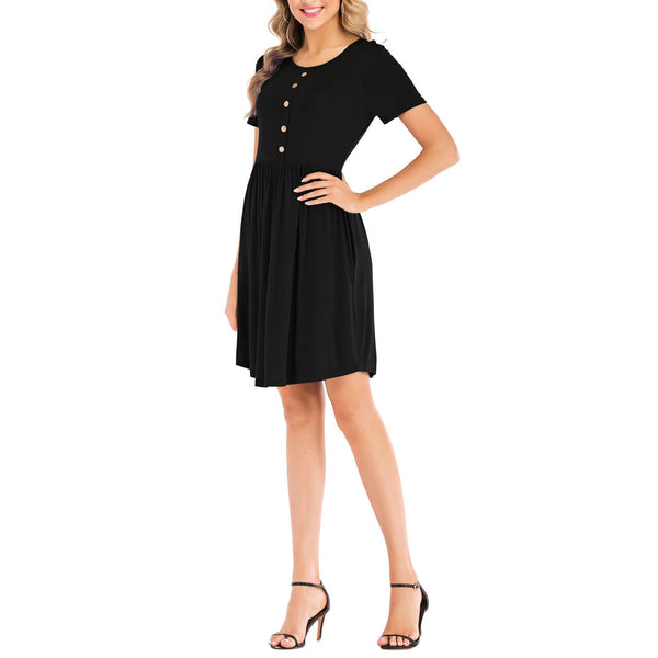 Ayliss women casual style short sleeve dress for girls round neck mini dress summer hiking