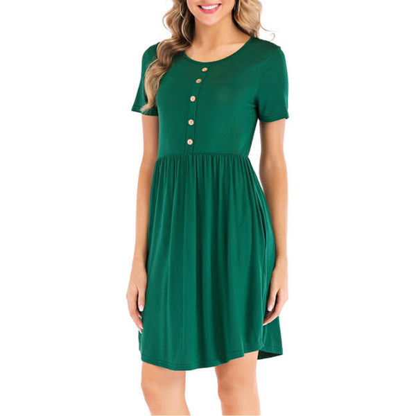 Ayliss Women Casual Plain Simple T-Shirt Dress with Pockets