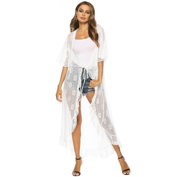 Ayliss white lace long cover up for women beachwear dress cover