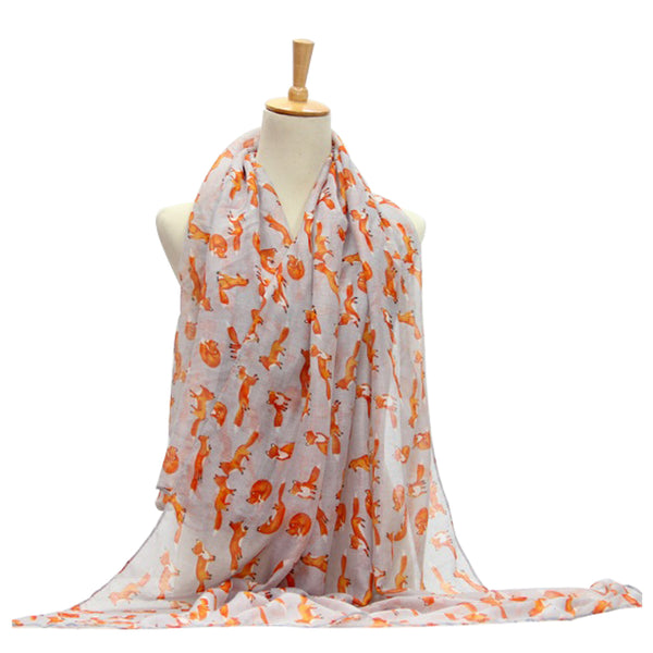 Ladies Scarf Fox Printing Lightweight Scarf Wrap - Grey