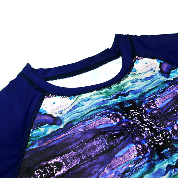 Women's Printed Long Sleeve Swimsuit Rash Guard Swimwear