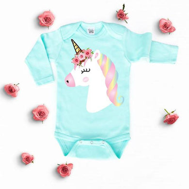Pastel Green Unicorn Long Sleeves Onesie