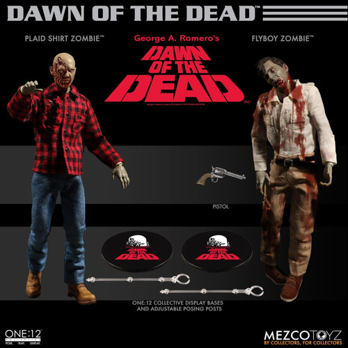 DAWN OF THE DEAD Boxed Set - Plaid Shirt & Flyboy Zombie - ONE:12 Collective - MEZCO