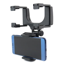 360 Degree Car-styling Rearview Phone Holder Mirror With Mechanical Clamp For Cell Phone