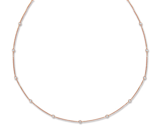 18ct Rose Gold 0.50ct Rubover Diamond Chain (18in/45cm) TGC-DCN0064