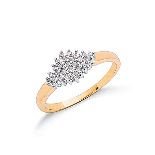 9ct Yellow Gold 0.16ctw Diamond Cluster Ring TGC-DR0062