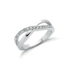 18ct White Gold 0.25ct Crossover Diamond Ring TGC-DR0651