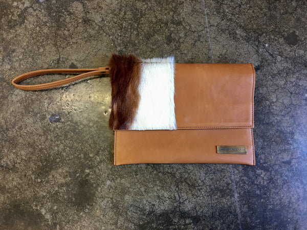 Springbok and Leather Clutch