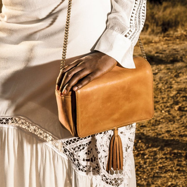 Leather Tassel Shoulder Bag