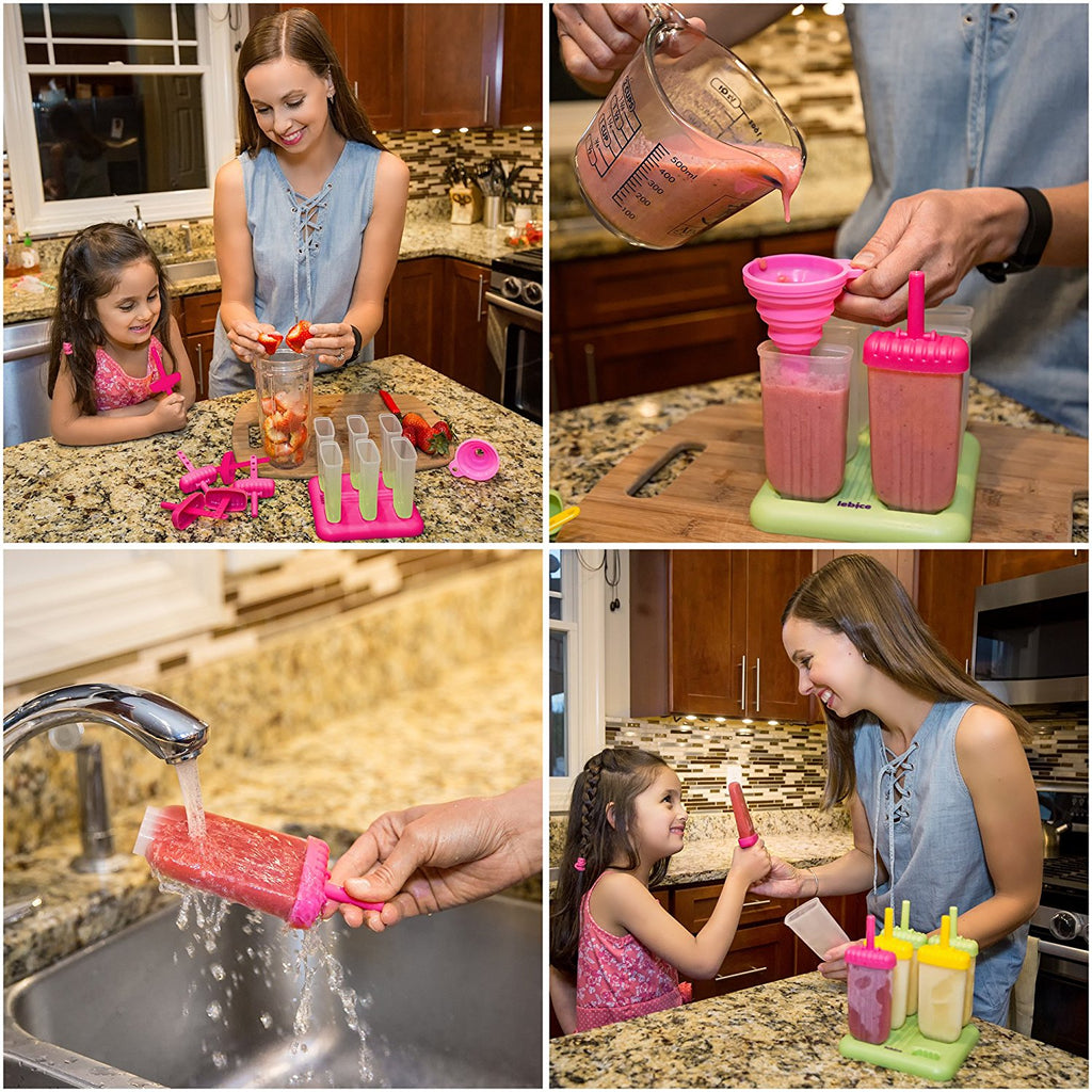 Popsicle Molds Set - BPA Free - 6 Ice Pop Makers + 1 Extra Mold + Silicone Funnel + Cleaning Brush + Recipes E-book - by Lebice