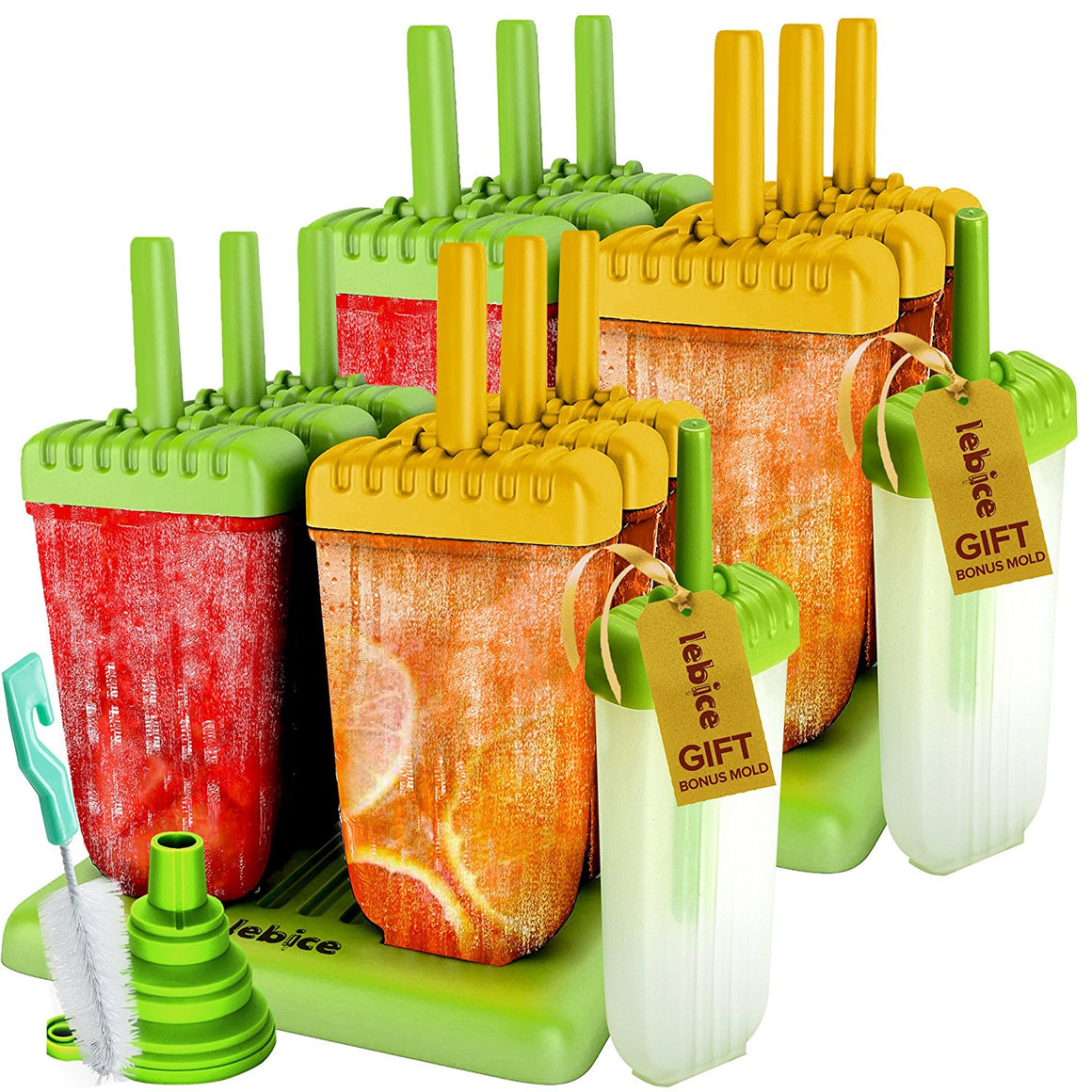 Popsicle Molds Double Set - BPA Free - 12 Ice Pop Makers + 2 Extra Molds + 2 Silicone Funnels + 2 Cleaning Brushes + Recipes E-book - by Lebice