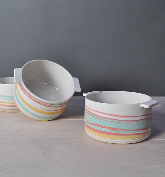 Bowl with Handles - Tri Color - Taffy