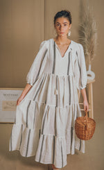 blue anemone bohemian boho linen tent hippie prairie ruffled gathered peasant gypsy folk tiered gauze cotton spring earthy beige summer maxi dress