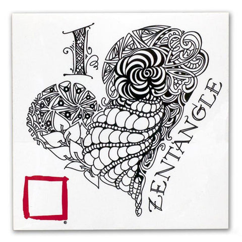 I Love Zentangle Heart Decal