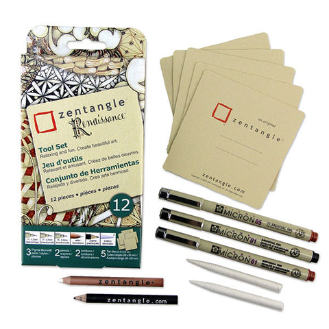Zentangle Paper Tile and Pen Set - Square Renaissance - 12