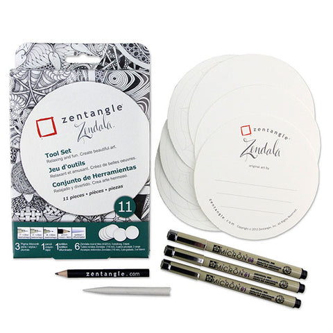 Zentangle Paper Tile and Pen Set - Zendala® White - 11