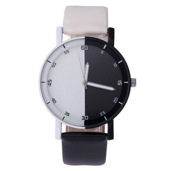 Black & White Block Faux Leather Quartz Watch - Watches