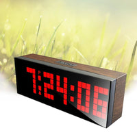 LED Wood Grain Digital Clock Large Led Digits Use For Table or Wall - Alarm Clocks