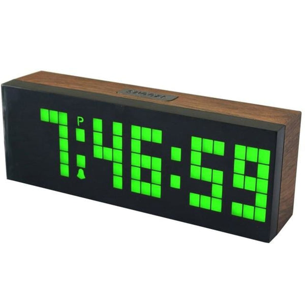 LED Wood Grain Digital Clock Large Led Digits Use For Table or Wall - Green - Alarm Clocks