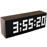 LED Wood Grain Digital Clock Large Led Digits Use For Table or Wall - White - Alarm Clocks