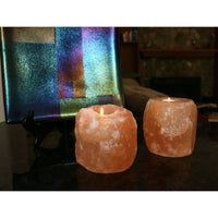 Natural Crystal Himalayan Salt Candle Holders (Pack of 4) - Candles & Candle Holders