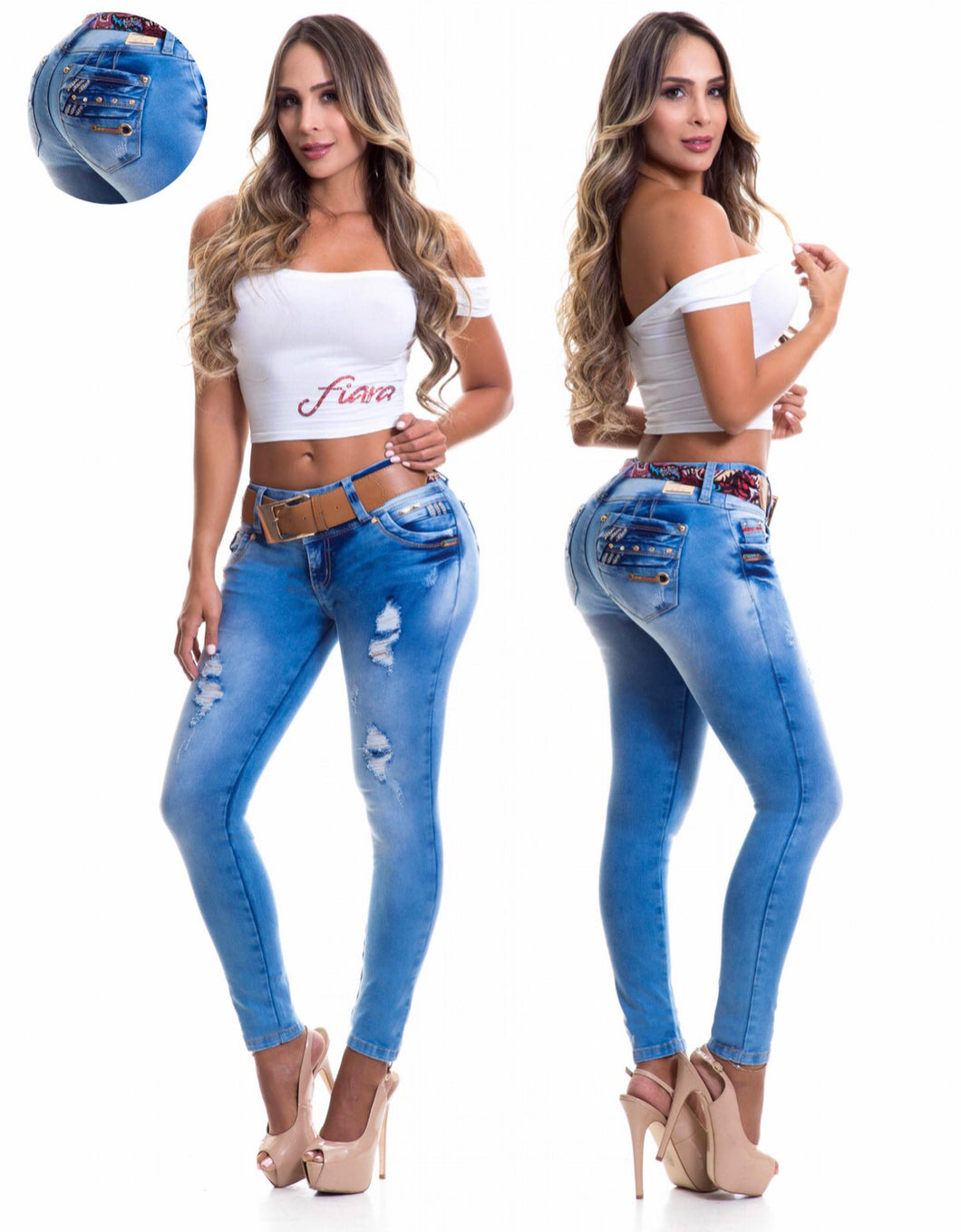 Blue Denim Semi Ripped Jeans