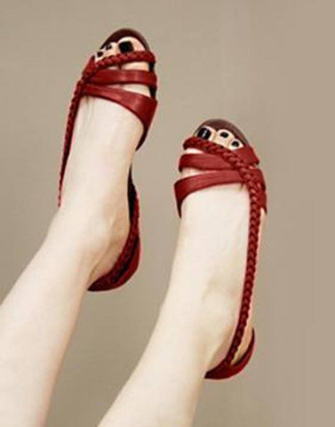 Salt Water Leather Red Flat