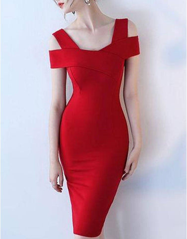 Falling For Red Cross Shoulder Dress