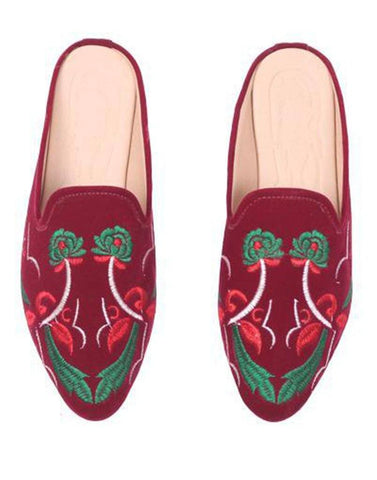 Floral Maroon Embroidery Mule Flat