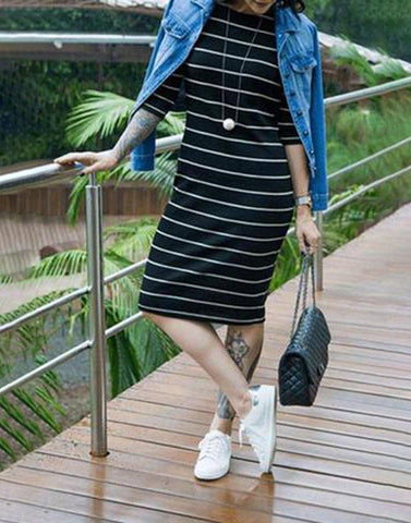Classic Striped Sheath Dress