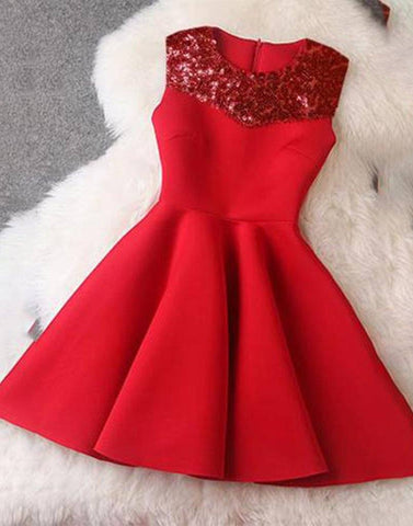Hot Red Sequin Yoke Dress