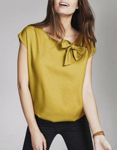 Mustard Bow Neck Top