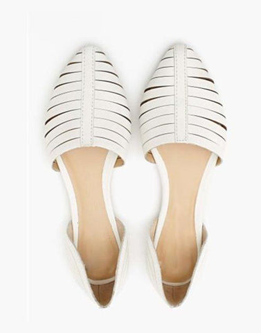 White Caged Strappy Flats