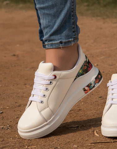 Pretty White Floral Sneakers