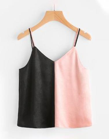 Pink And Black Colour Block Top