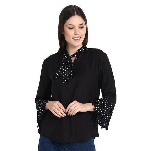 Black Bell Sleeves Pom Pom Top With Dotted Tie