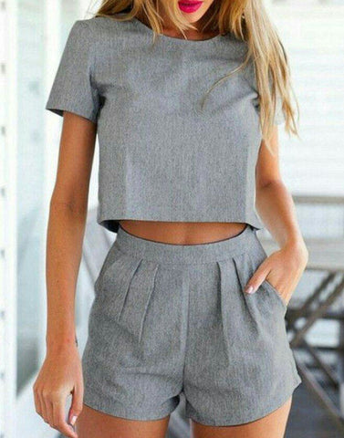 Bossy Hot Grey Top With Shorts
