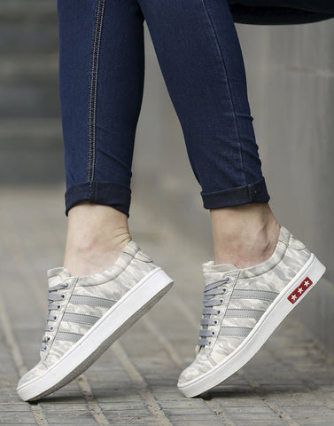 First Step Grey Camouflage Sneakers