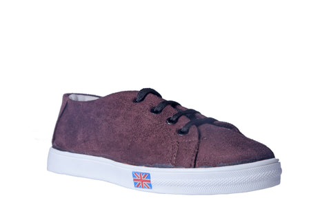 MSC Women Suede Leather Brown Sneakers