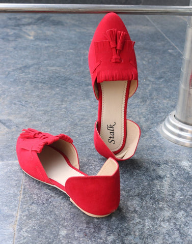 Red Pointed Toe Ballerina