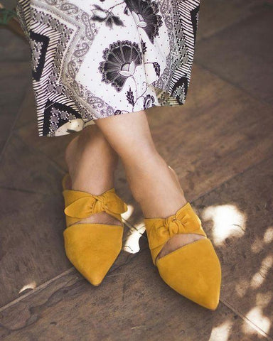 Mustard Pointed Toe Bow Mule