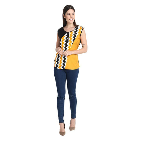 Black And Mustard Zig Zag Top With Black Side Yoge