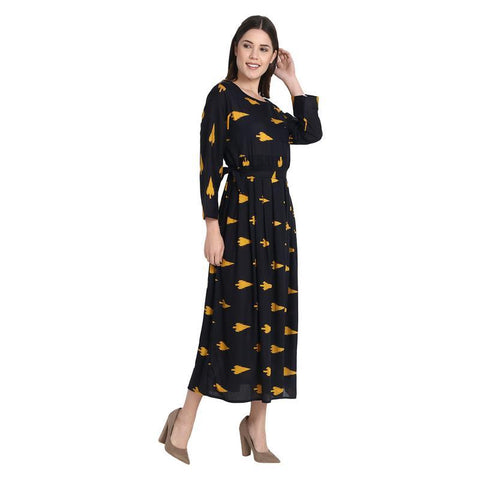 Black With Yellow Pan Printed Long Dress With Drosting