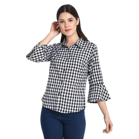 White With Black Check Top With Bell Sleeves