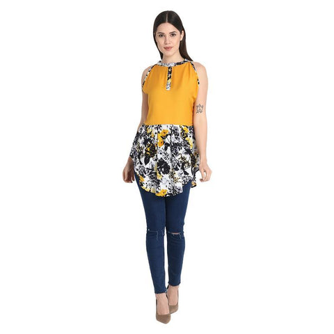 Yellow Yoge With Black Multicolor Short Dress